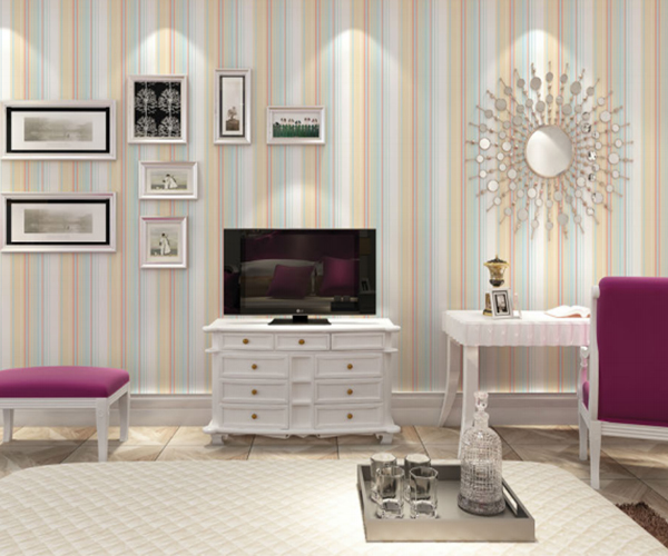Hot sale various colors strip pvc vinyl wall paper for home room decoration